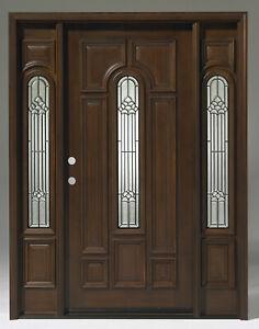 Sale!!! Solid TEAK Wood Door Unit Prehung & Finished TTK7525-5-GL02 Patina