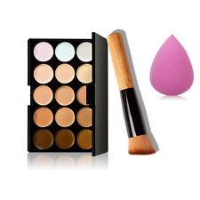 15Color Face Foundation Powder Contour Cream Concealer Palette Brush Kit Makeup