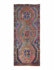 Herki Rug Handmade Wool Decorative vintage Turkish carpet blue coral red purple