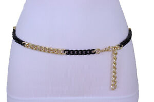 Women Fashion Belt Gold Black Metal Thick Chain Links Narrow Waistband XS S M