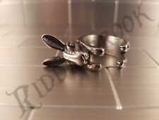 Stainless steel Rabbit ring Bunny style wrap around Hare Easter Size US 7 - 11