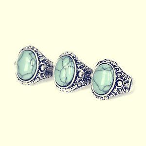 Tibetan Turquoise Boho Silver Ring-Bohemian Jewellery-Vintage Hippy Jewelry