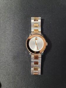 Movado Bold SWISS Quartz Two Tone Stainless Steel Ladies Watch 3600464