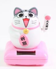 Chi's Sweet Home Gray Fortune Cat Solar Powered Toy Birthday Gift Home Decor