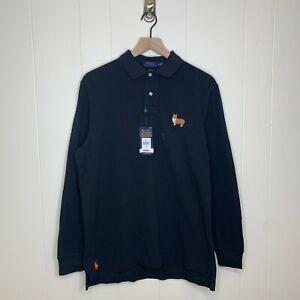 NWT Polo Ralph Lauren Corgi Long Sleeve Polo Shirt LQZ Pony Logo Black Sz Medium