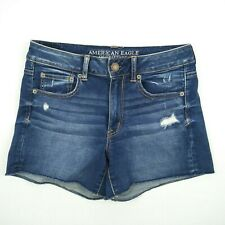 American Eagle Outfitters - Distressed Raw Hem Blue Stretch Shorts Size 8 W30