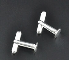 10 (5 Pairs) Cufflink Blanks Silver Plated 8mm Pad 'BUY 4 GET 5th FREE' J09444B