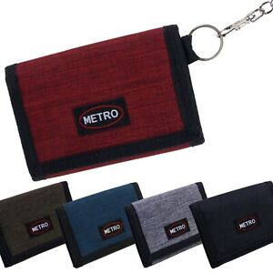 Metro Mens Boys Canvas Tri-Fold Cash & Card Wallet with Chain