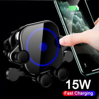 Qi Wireless Fast Car Charger Air Vent Phone Holder For IPhone 12 Samsung Huawei