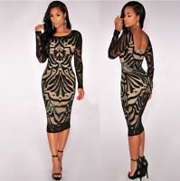 Women Sexy Hollow Back Long Sleeve Bodycon Party Knee-length Casual Dress N2009