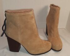 NEW JEFFREY CAMPBELL BEIGE RUMBLE SUEDE ANKLE BOOTIES BOOTS  HEELS WOMENS US 10