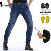 KOMINE Motorcycle Biker Distressed Pants Denim Jeans Trousers Protection Pads