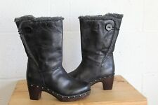 BLACK FAUX LEATHER MID CALF MID HEEL BOOTS SIZE 5 / 38 BY SPRING STEP USED CON