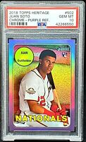 2018 Heritage Chrome PURPLE REFRACTOR Nats JUAN SOTO RC Card PSA 10 GEM MINT