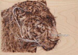 Black Panther Cat - Pyrography Wood Burning Drawing Animal Portrait Art Wildlife
