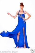 $27,000 NEW VERSACE EMBELLISHED ROYAL BLUE CHIFFON SILK LONG DRESS GOWN 42