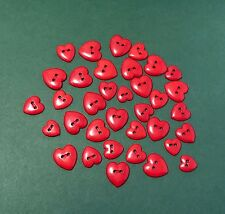 Red Love Heart Buttons - Dress it Up -Various Sizes - Flat Back 2 Hole Valentine