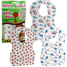 Disposable Travel Baby Bib Throw away 6 Bibs Boys & Girls