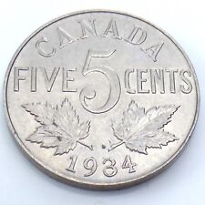 1934 Far From Rim Canada Five 5 Cents Canadian Nickel Circulated Coin G772
