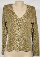 MELROSE STUDIO Glittering Brown Tan Animal Print Cardigan Sweater Medium