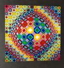 """Victor Vasarely """"Folk"""" Mounted Offset Color Lithograph 1979-81"""