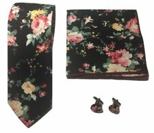 Algodón Retro Corbata Floral Cachemira Flor Rosa Gemelos Pañuelo Conjunto RU