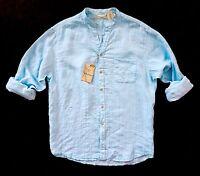 Nwt Caribbean Blue Linen & Rayon Tonal Stripe Long Sleeve Mandarin Collar Shirt