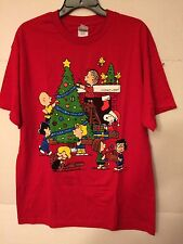 Peanuts Snoopy Lucy Linus Holiday Christmas Xmas Red T-Shirt L Large Schulz