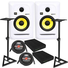 KRK RP5G3 ROKIT 5 G3 Studio Monitor Speaker Pair White + Stands + Cables + Pads