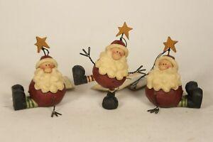 Blossom Bucket Set of 3 Santa's with Stars Figure 80567