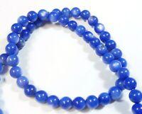Muscheln Perlen 4mm Blau Perlmutt 1 Strang Kugel 65stk Schmucksteine U249