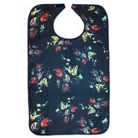Adult Flower Pattern Bib Washable Waterproof Mealtime Clothing Protector
