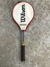 Vintage Wilson T2000 Tennis Racket With Genuine Leather Handle Made In USA 4 1/2