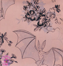 Alexander Henry Angela's Attic Haunted House Mauve Bat Webs Cotton Fabric Yard