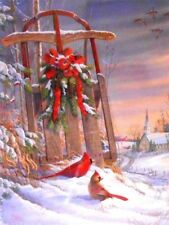 "PUZZLE - JIGSAW SPRINGBOK ""WINTER RED BIRDS"" CARDINALS CHRISTMAS 500 PIECES NIP!"