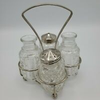 Vintage Salt & Pepper Oil Vinegar Carrying Caddy Glass Bottle Condiment