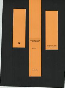 Ian Hamilton Finlay 'Short Poem on Sandpapering' Wild Hawthorn Press