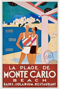 A1 SIZE POSTER  FOR FRAME PRINT VINTAGE ART MONTE CARLO
