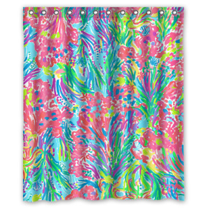 New Lilly Pulitzer Coral Custom Print Shower Curtain Size 48x72 60x72 66x72 Inch