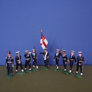 William Britains Toy Soldiers Royal Navy. Nine painted Figures.