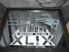 2015 SUPERBOWL 49 NEW ENGLAND PATRIOTS SEATTLE SEAHAWKS ETCHED MIRROR BLACK NEW