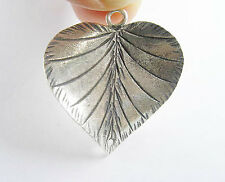 Karen Hill Tribe Silver Printed Curve Heart Pendant, Connector 25.5mm.