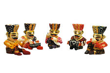 "4"" HANDMADE CARVED HAND PAINTED WOODEN SHOWPIECE (BABLA SET)  5 PCS SET"