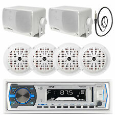 "5.25"" Pyle White 100W Speakers, 3.5"" Speakers, White Bluetooth USB Radio,Antenna"