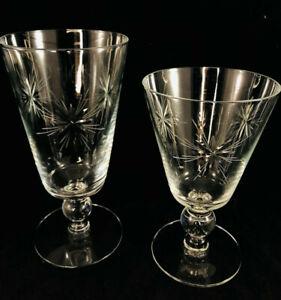 """6 Vintage Star Deep Etched Art Deco Crystal Cocktail Glasses MCM 3- 6.5"""" 3- 5.5"""""""