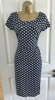 Shift Dress Size Large UK 10 Polka Dot Navy White Womens