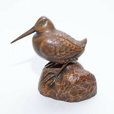 Vintage Carved Brown Woodcock Shore Bird - Signed by Artist J. A. B