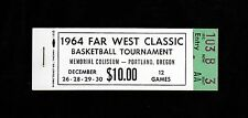 >1964 Far West Classic Basketball Tournament FULL TICKET BOOKLET Portland, OR