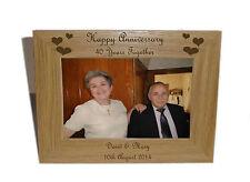 Buon anniversario 40yrs telaio di legno 7x5-personalise questo frame-free INCISIONE