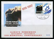 ISRAEL 2011 10th MEMORIAL ANNIVERSARY OF SEPTEMBER 11th LIMITED EDITION  FDC 1